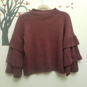 POOF! Tiered Ruffle Sleeve Maroon Sweater M